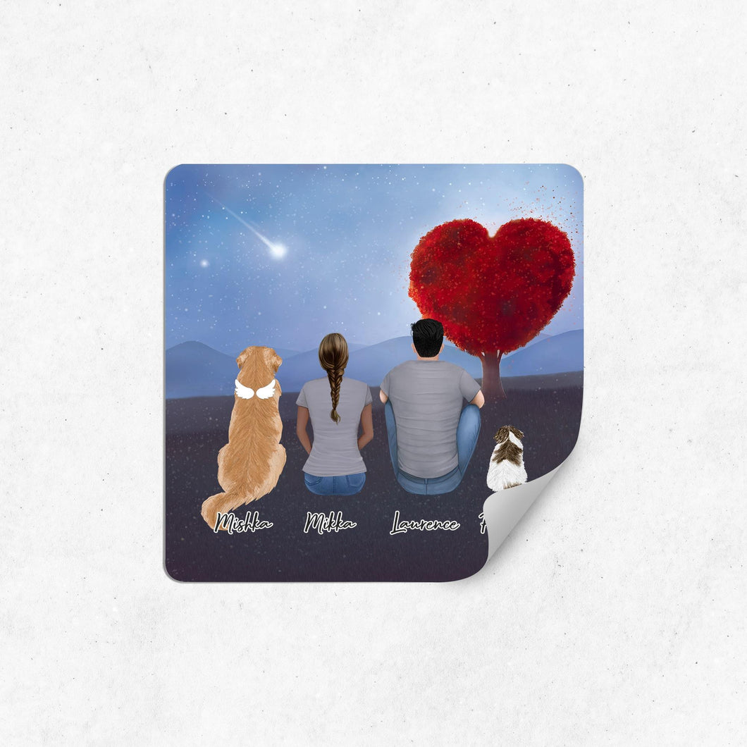 Heart Love Square Sticker - Personalized Pet & Owner Sticker theonlinemachine