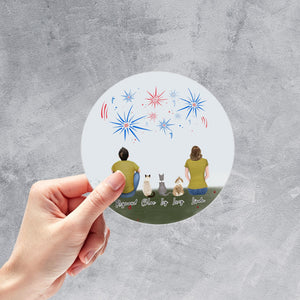 July 4th Circle Sticker - Pet & Owner Personalized Sticker theonlinemachine