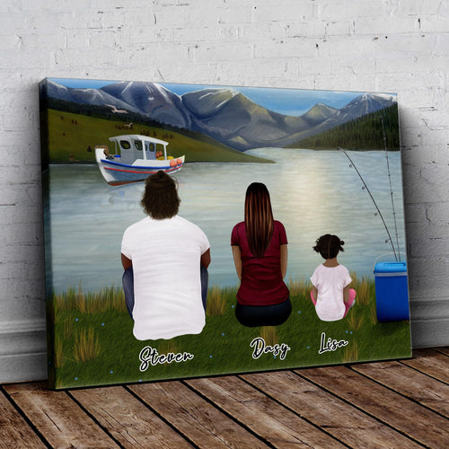 Lake & Boat Personalized Family Wrapped Canvas Gooten