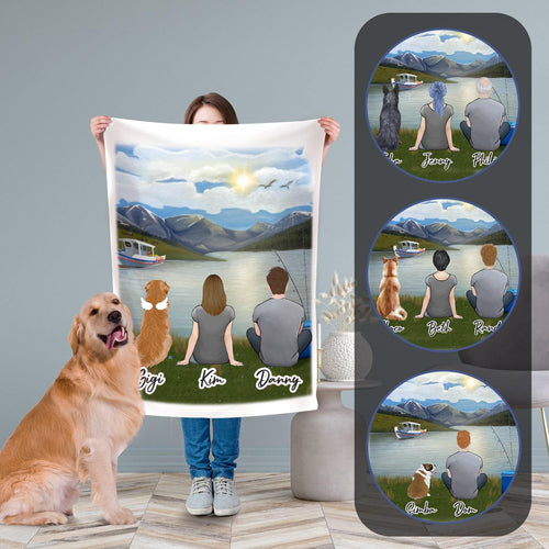 Lake & Boat Personalized Fleece Blanket Blanket Gooten