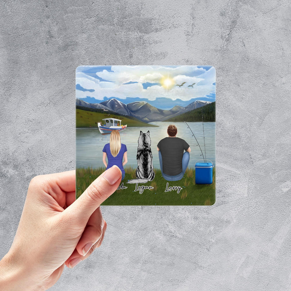 Lake & Mountain Square Sticker - Personalized Pet & Owner Sticker theonlinemachine