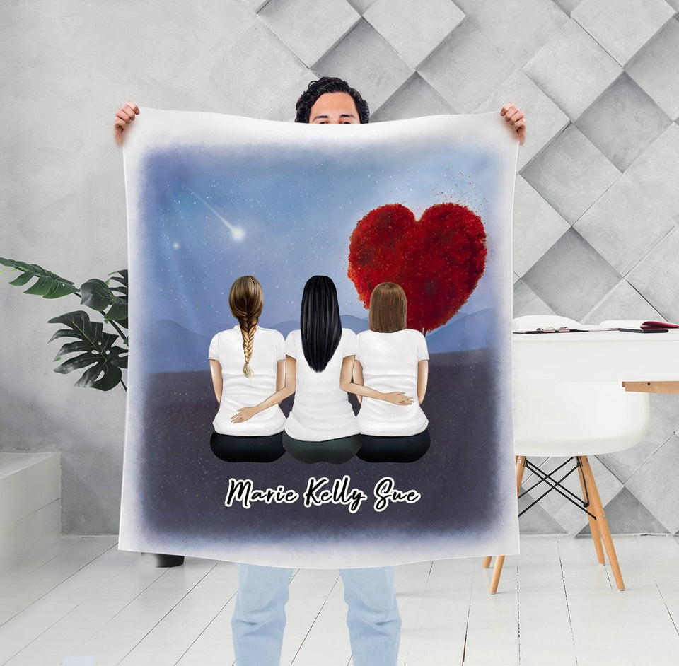 Love Heart Tree Personalized Best Friend Sister Blanket Blanket Gooten
