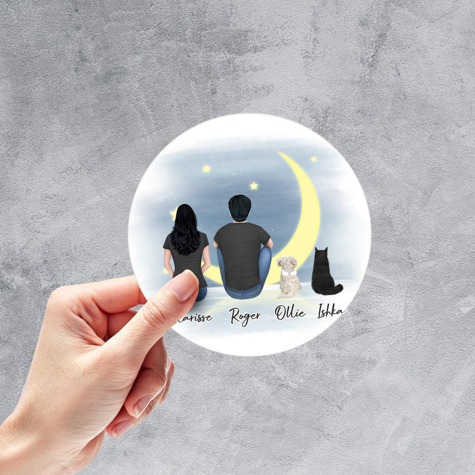 Moon Circle Sticker - Pet & Owner Personalized Sticker theonlinemachine
