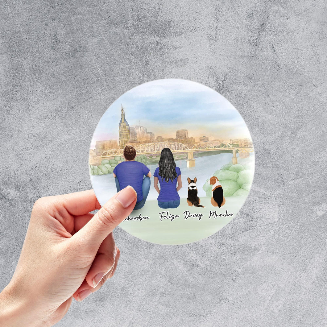 NYC Circle Sticker - Pet & Owner Personalized Sticker theonlinemachine