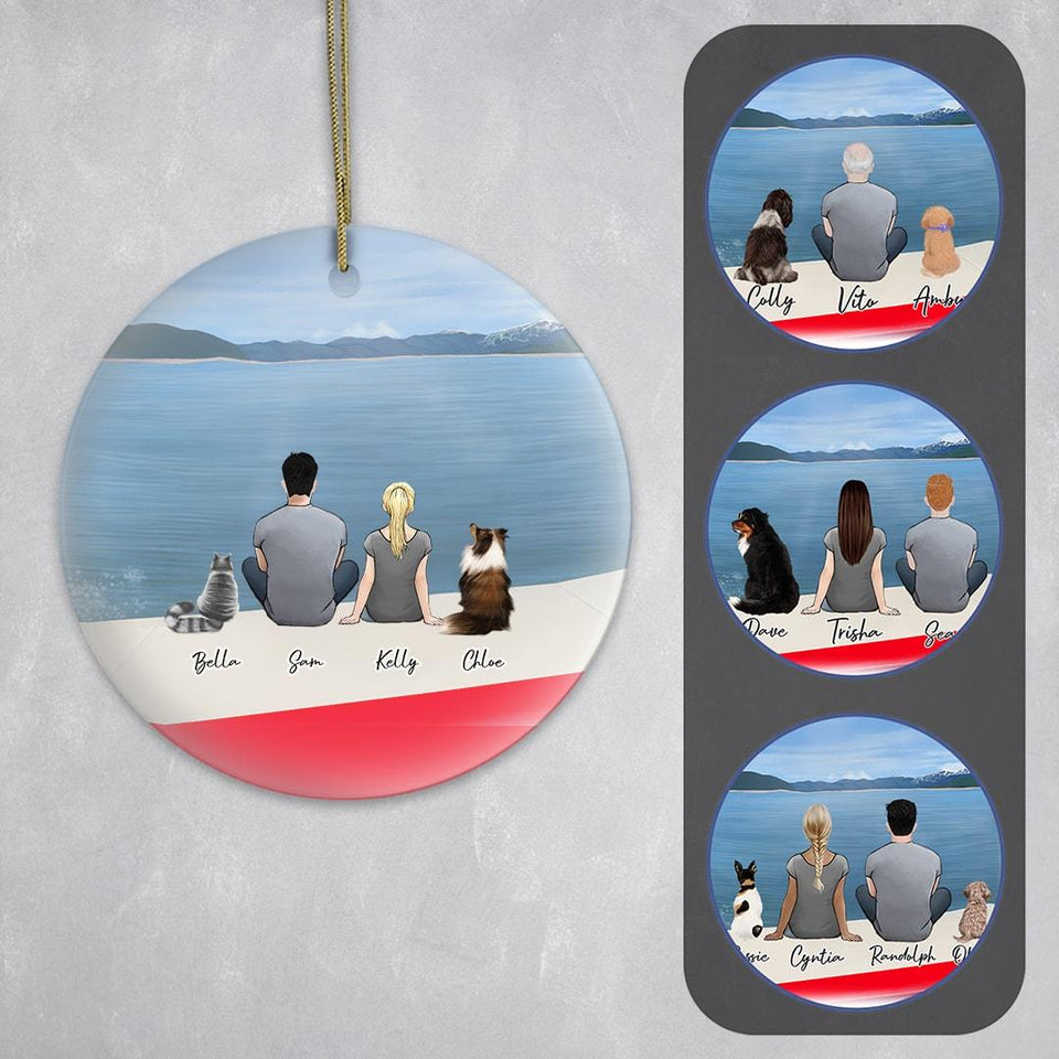 On a Boat Circle Ornament - Personalized Pet & Owner Ornament Gooten