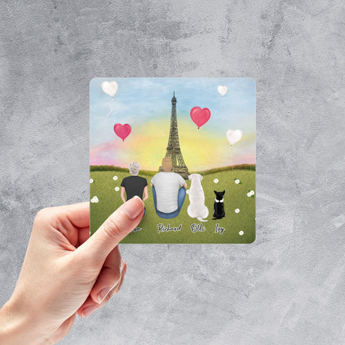 Paris Square Sticker - Personalized Pet & Owner Sticker theonlinemachine