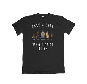 Personalized Girl Who Loves Dogs Black T-Shirt Gooten