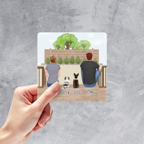 Personalized Pet & Owner Backyard Sticker Square Sticker theonlinemachine