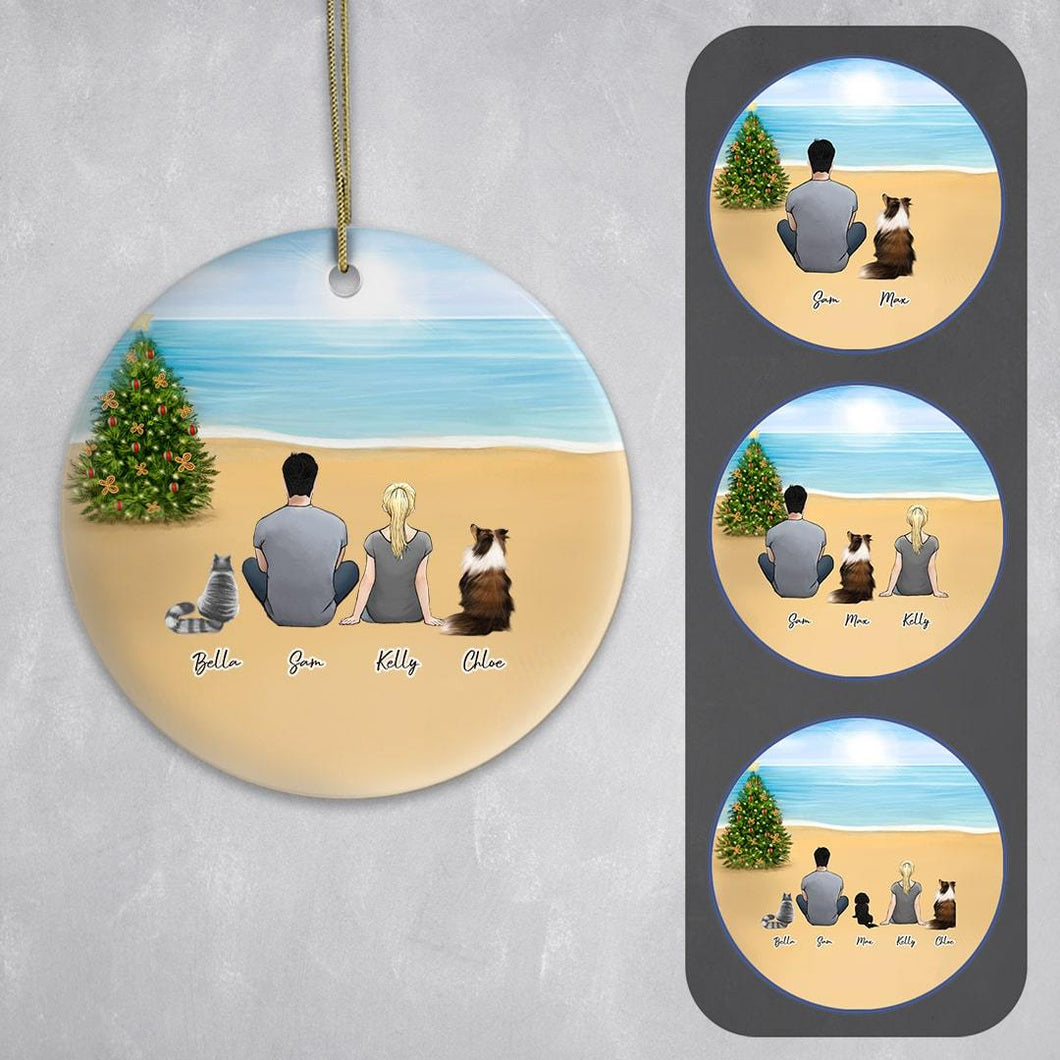Personalized Pet & Owner Beach Ornament Circle Ornament Gooten