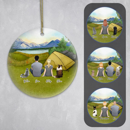 Personalized Pet & Owner Camping Ornament Circle Ornament Gooten