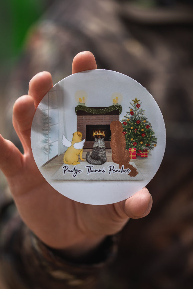Personalized Pet & Owner Christmas Sticker Circle Sticker theonlinemachine