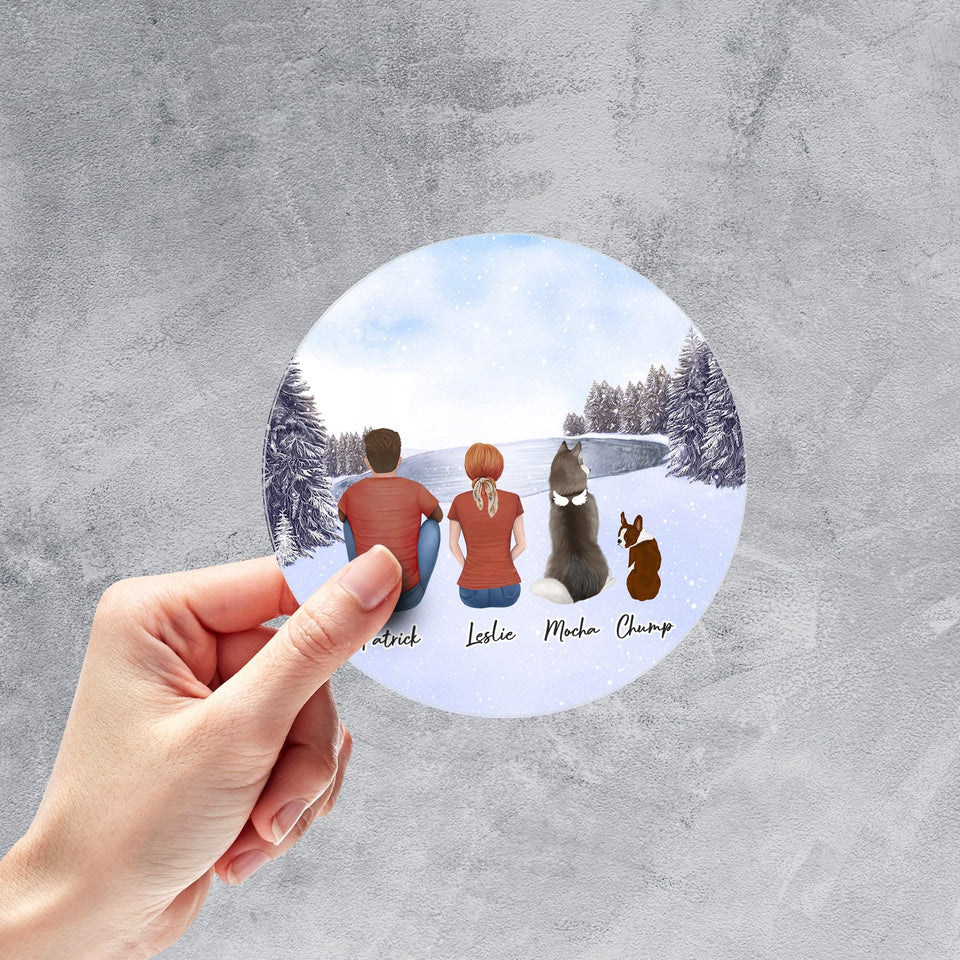 Snow Circle Sticker- Pet & Owner Personalized Sticker theonlinemachine