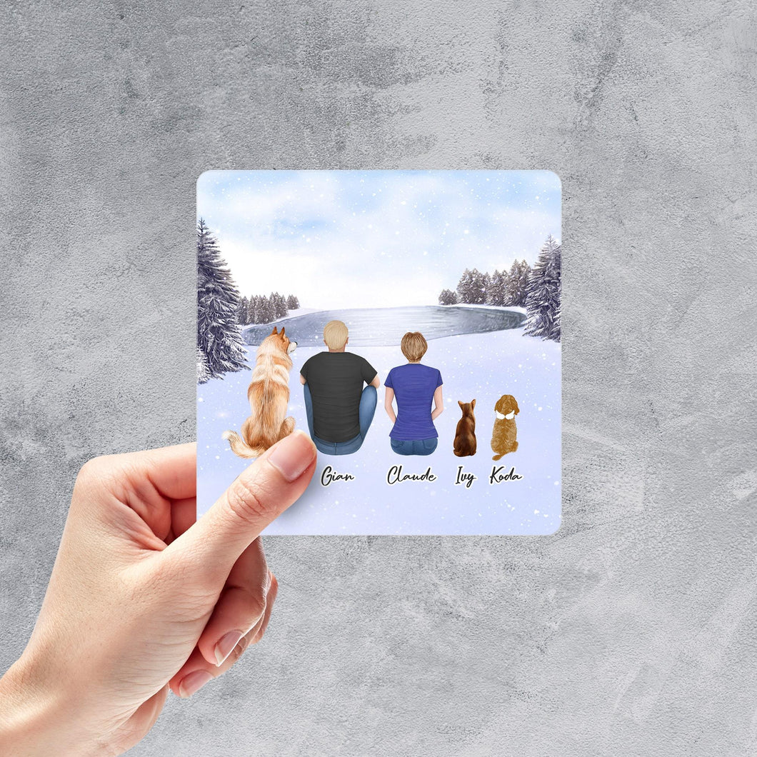 Snow Square Sticker - Pet & Owner Personalized Sticker theonlinemachine