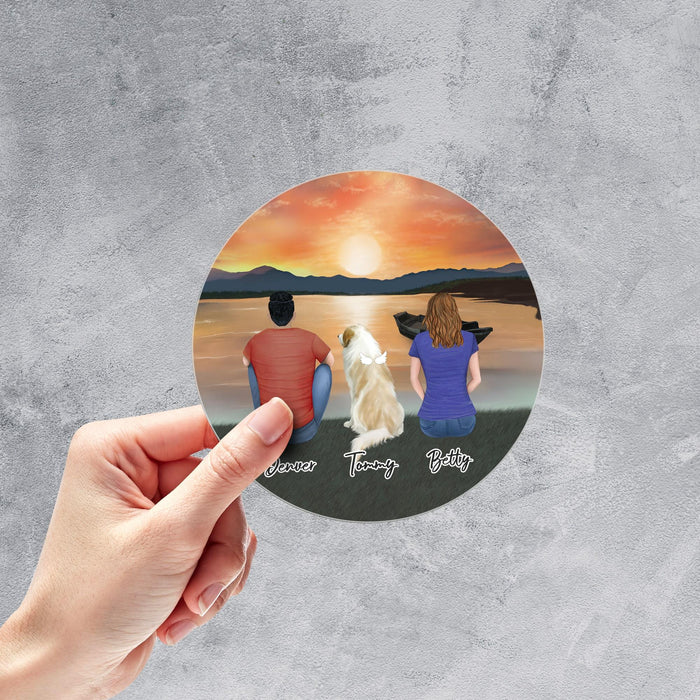 Sunset Circle Sticker- Pet & Owner Personalized Sticker theonlinemachine