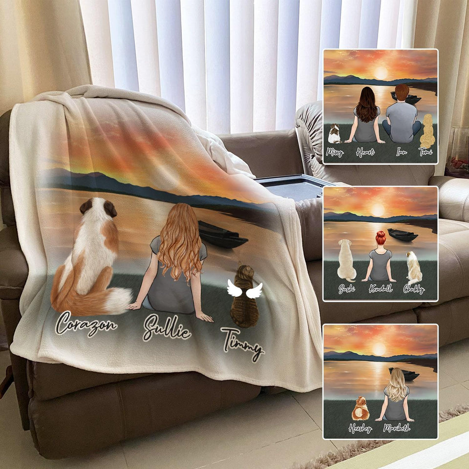Sunset Personalized Pet & Owner Blanket Blanket Gooten