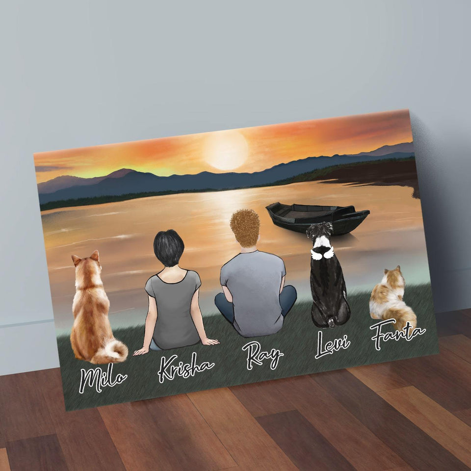 Sunset Personalized Pet & Owner Wrapped Canvas Wrapped Canvas Gooten