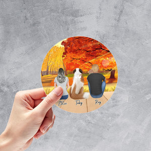 The Fall Circle Sticker - Personalized Pet & Owner Sticker theonlinemachine
