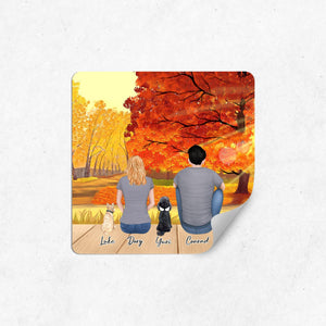 The Fall Square Sticker - Personalized Pet & Owner Sticker theonlinemachine