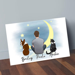 The Moon Personalized Pet & Owner Wrapped Canvas Wrapped Canvas Gooten