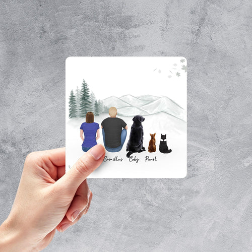 White Mountains Square Sticker - Personalized Pet & Owner Sticker theonlinemachine