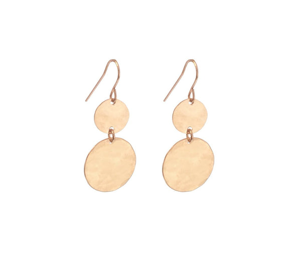 Double Mini and Large Disc Earring - Gold, Silver, Rose Gold >>