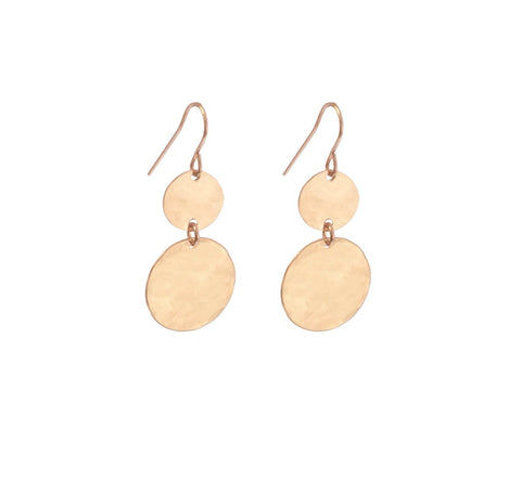 Double Mini and Large Disc Earring in Rose Gold