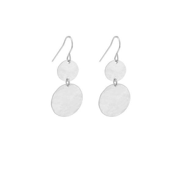 Double Mini and Large Disc Earring in Silver