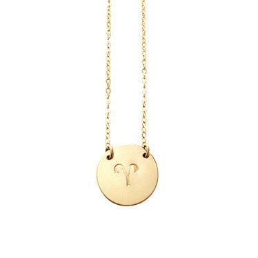 Zodiac Disc Necklace -  ARIES - Mar 21 - Apr 20 - Gold, Silver, Rose Gold >>
