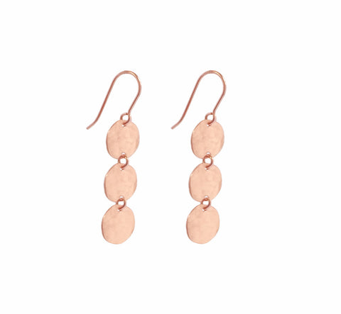 Triple Mini Disc Earring in Rose Gold