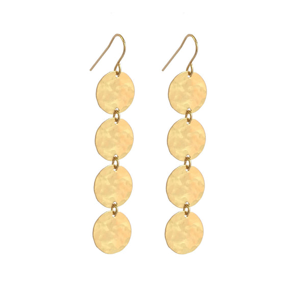 4 Classic Earring Gold Hammered