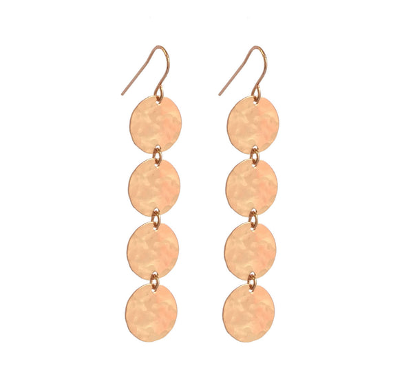4 Classic Earring Rose gold Hammered