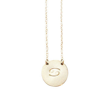 Zodiac Disc Necklace -  CANCER - Jun 23 - Jul 23 - Gold, Silver, Rose Gold >>