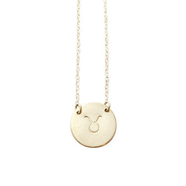 Zodiac Disc Necklace -  TAURUS - Apr 21 - May 21 - Gold, Silver, Rose Gold >>