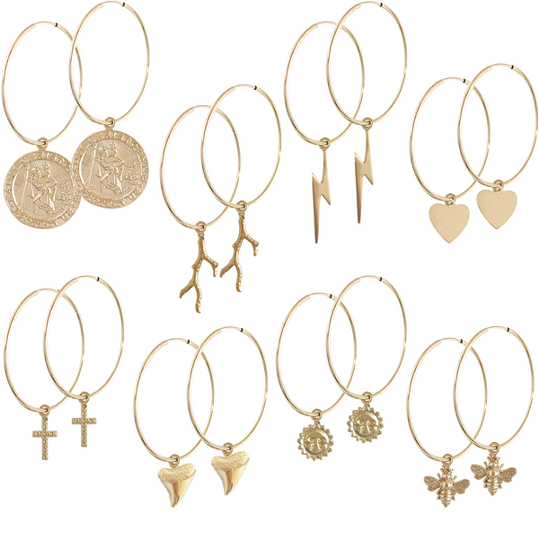 Alessia Hoop with Gold Mixed Charms Earing