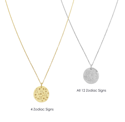Alex Zodiac Disc Necklace  - Gold, Silver, Rose Gold >>