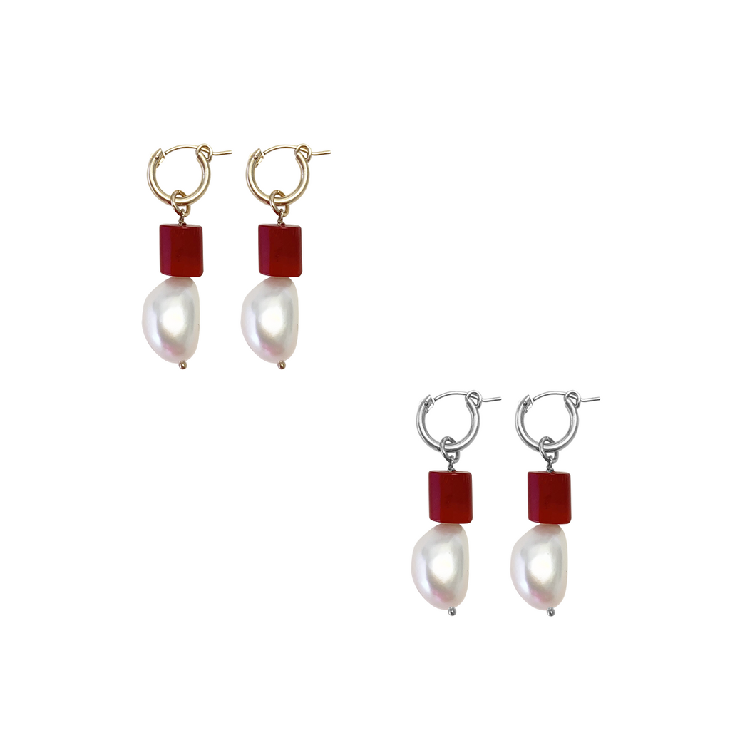Pearl and Coral earring
