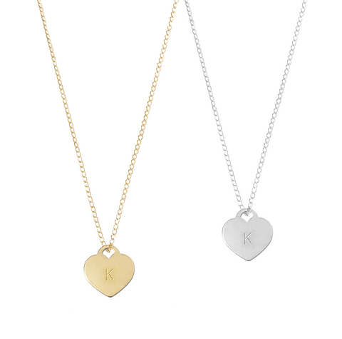 The Ally - Heart Tag necklace on fine chain - Gold, Silver >>