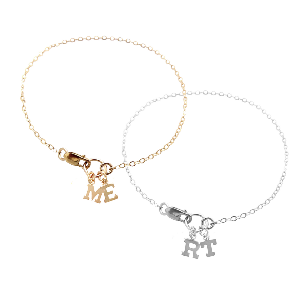 Alphabet City bracelet with ring - Two Letters - Gold, Silver >>