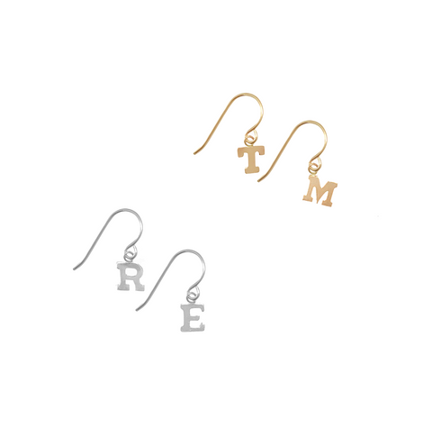 Alphabet City Earring on Earwire Pair in Silver & Gold