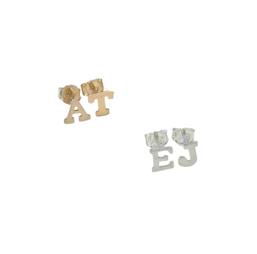 Alphabet City Stud Initial Pair  - Gold, Silver >>