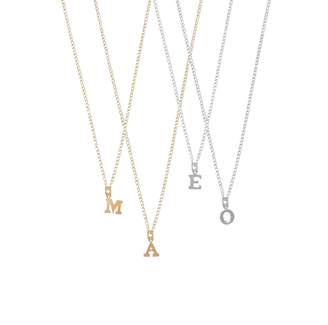 Alphabet City Necklace - One Letter - Gold, Silver >>