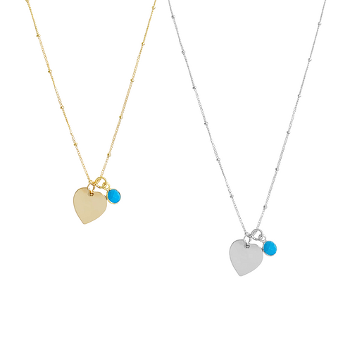 Amy Heart and Turquoise necklace - Gold, Silver >>