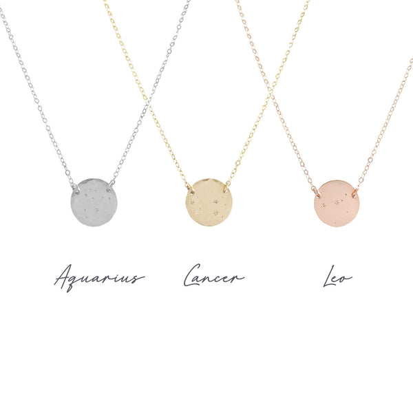 Zodiac Constellation necklace - Gold, Silver, Rose Gold >>