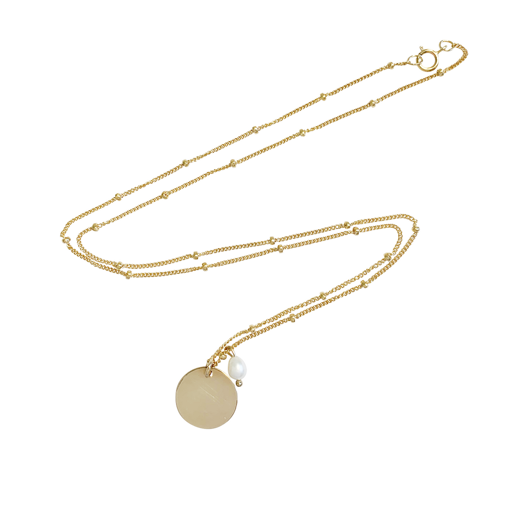 Aria Pearl Classic Disc Necklace in Gold