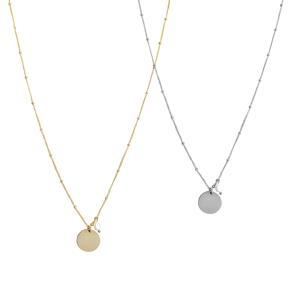 Aria Pearl Classic Disc Necklace in Gold & Silver