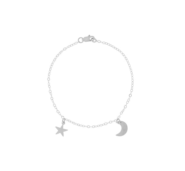 The Asher - Mini Moon and Star Bracelet Gold, Silver Color