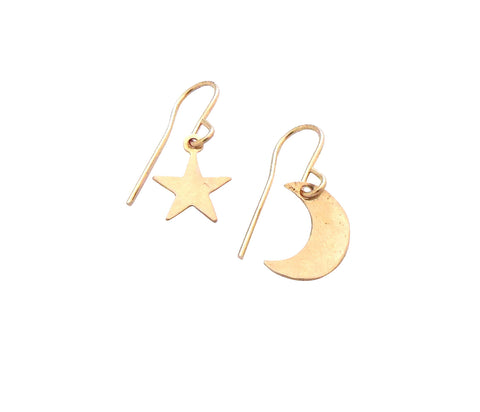Asher Earrings - Mini Moon and Star - Gold and Silver >>>