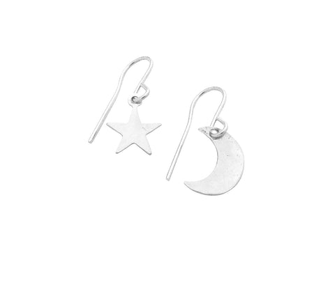 Asher Earrings - Mini Moon and Star - Gold, Silver, Rose gold >>>