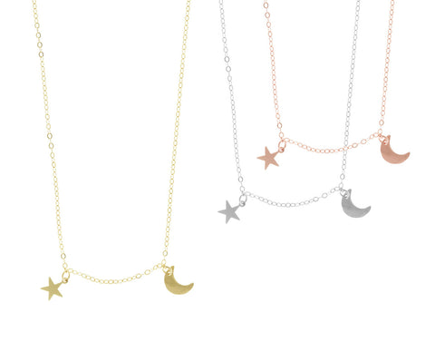 The Asher - Mini Moon and Star Neckace - Gold, Silver, Rose Gold >>