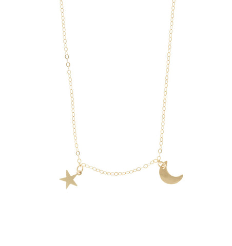 The Asher - Mini Moon and Star Necklace Gold Color